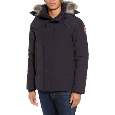 Canada Goose Wyndham Slim Fit Genuine Coyote Fur Trim Down Jacket, Blue