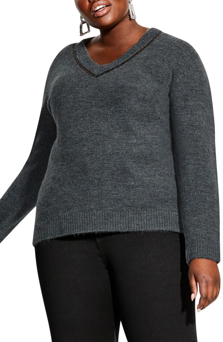 CITY CHIC V-Neck Sweater, Main, color, CHARCOAL