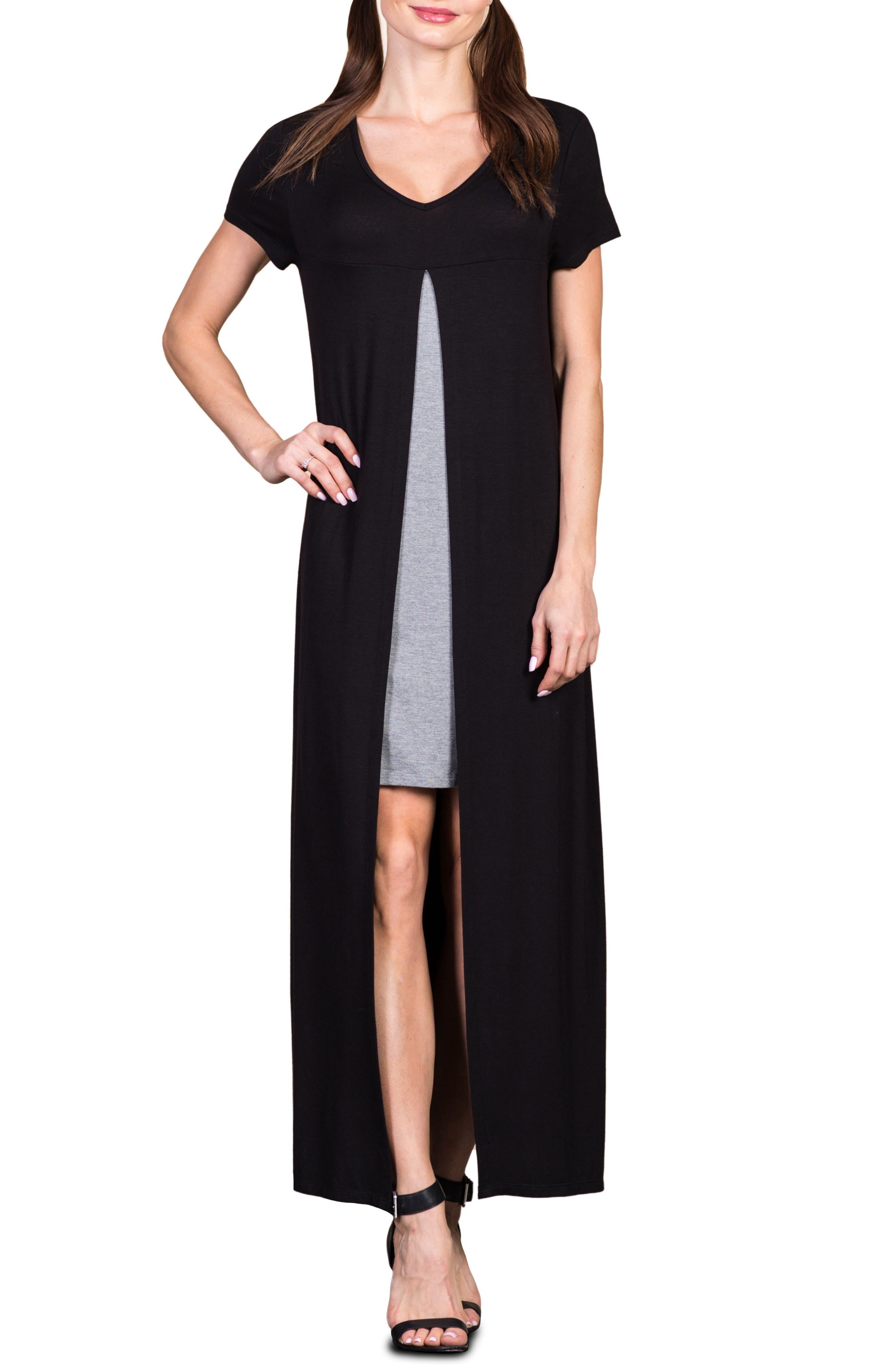 Savi Mom Milan Maternity/nursing Maxi Dress, Black