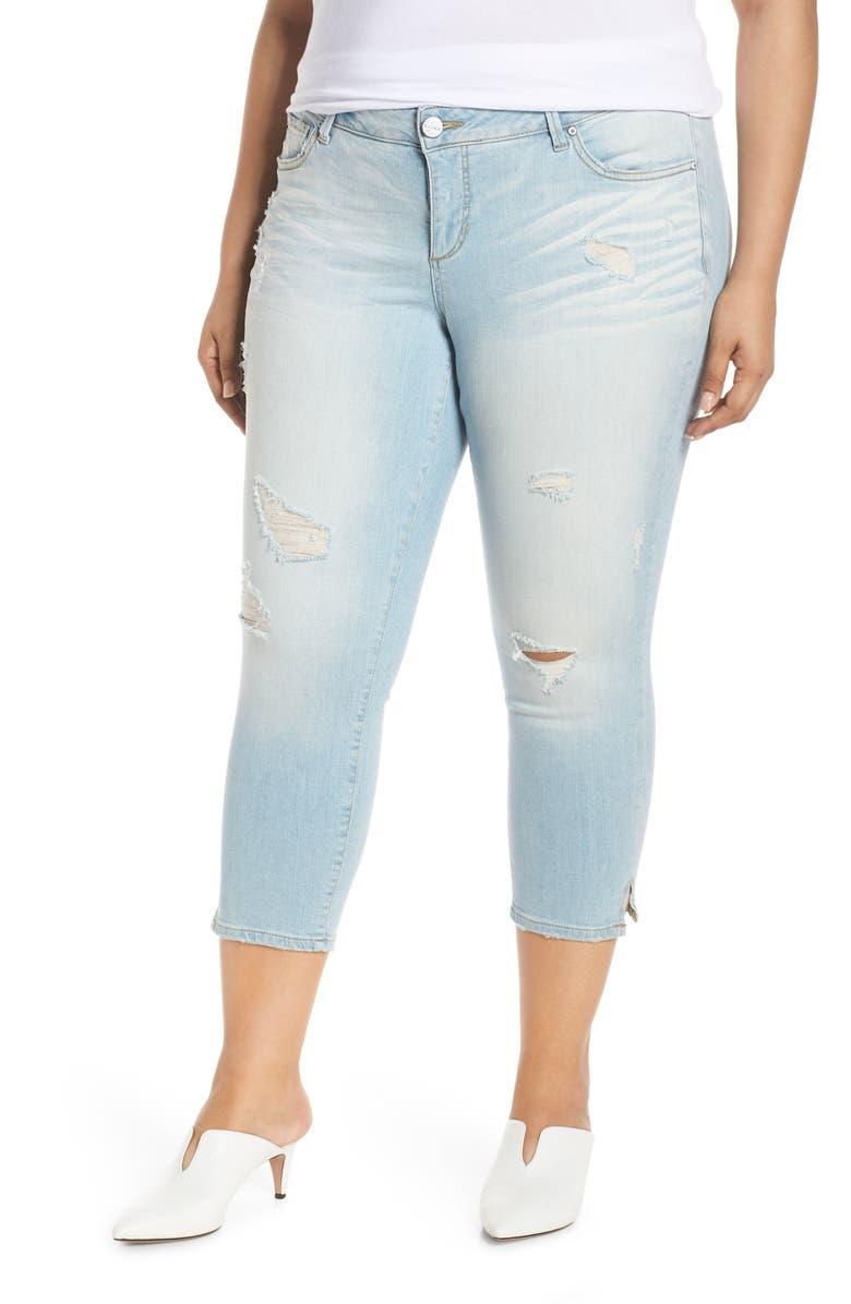 SLINK JEANS SLINK Distress Crop Jeans, Main, color, 418