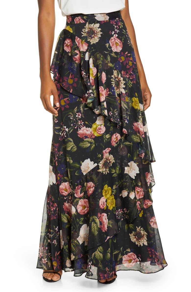 ELIZA J Tiered Chiffon Maxi Skirt, Main, color, BLACK MILK