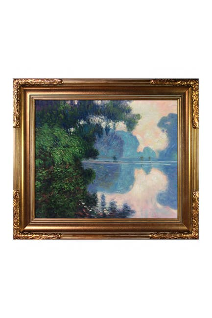 Image of Overstock Art Morning on the Seine Near Giverny - Framed Oil Reproduction of an Original Painting by Claude Monet