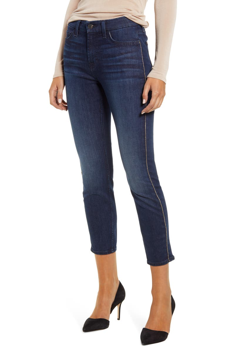 JEN7 BY 7 FOR ALL MANKIND High Waist Metallic Piping Ankle Skinny Jeans, Main, color, 406