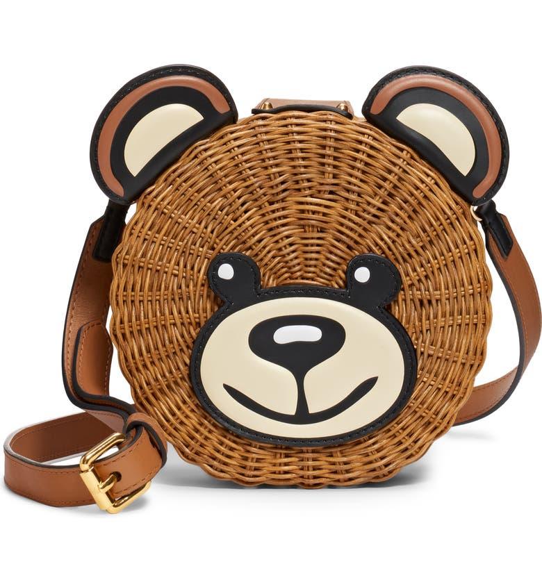 MOSCHINO Straw Teddy Crossbody Bag, Main, color, 240