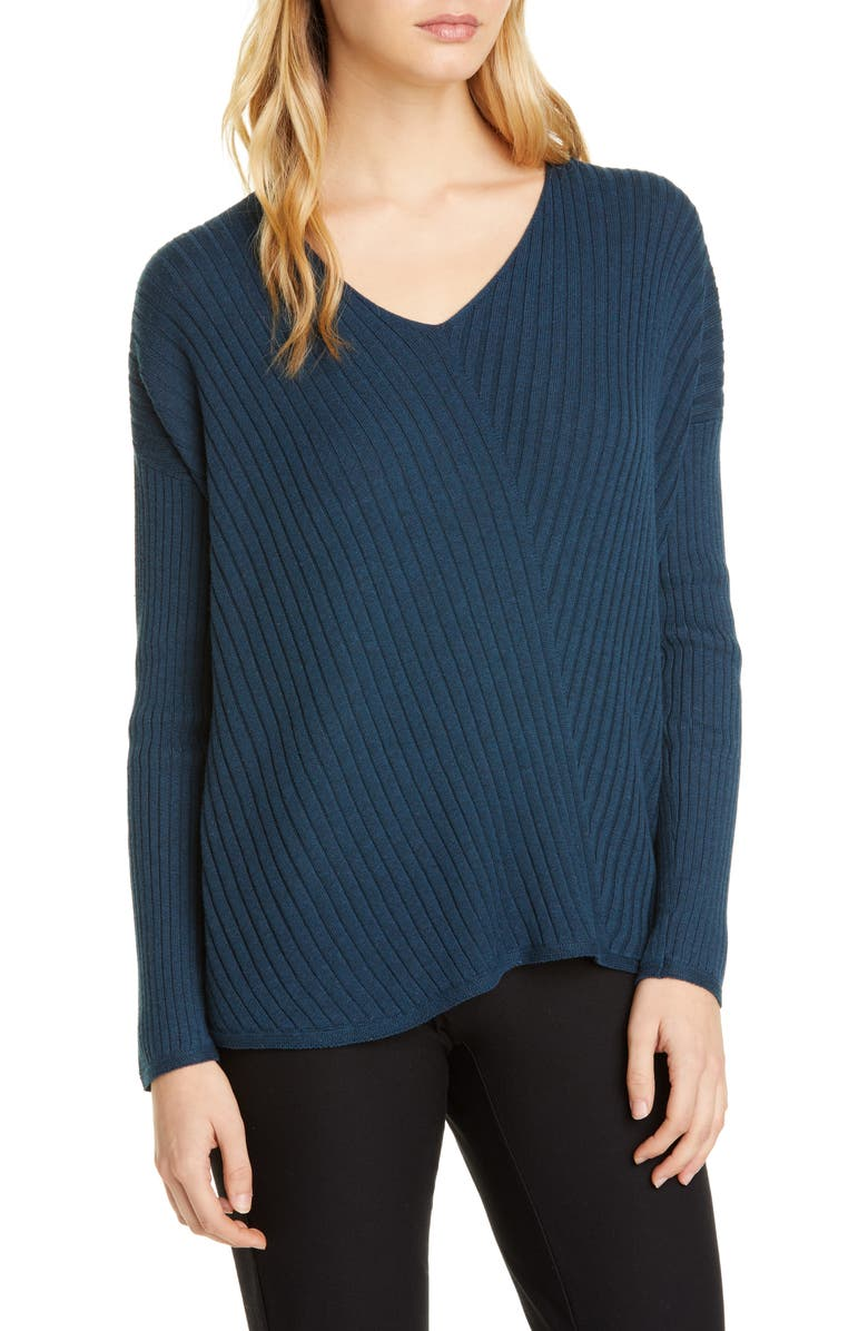 EILEEN FISHER Ribbed V-Neck Top, Main, color, STORM