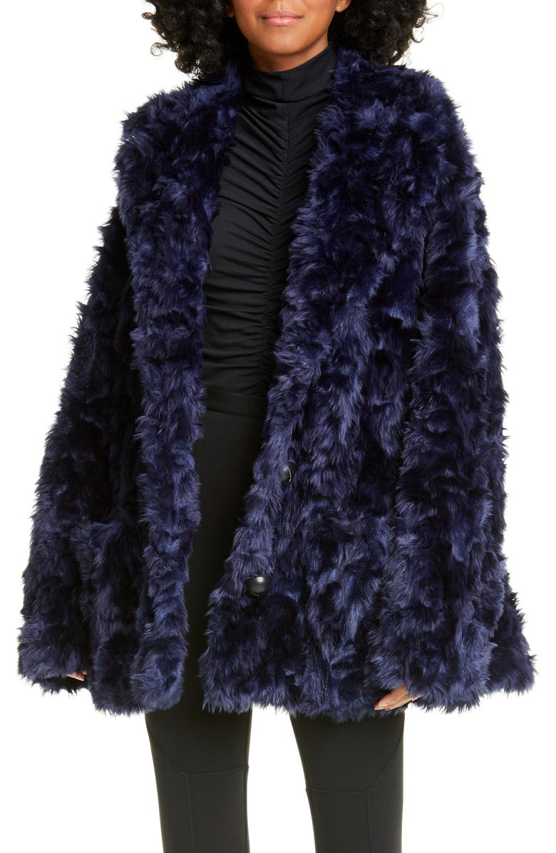 PROENZA SCHOULER WHITE LABEL Proenza Schouler PSWL Faux Fur Coat, Main, color, NAVY