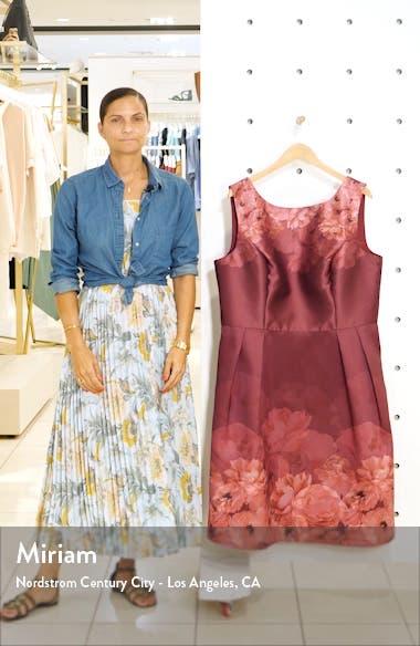 Curve Sady Floral Print Satin Cocktail Dress, sales video thumbnail
