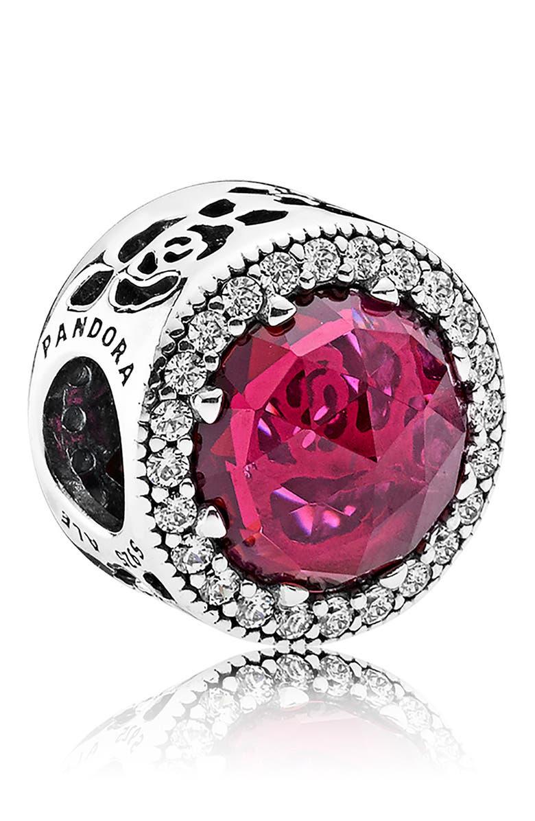 PANDORA Disney Belle's Radiant Rose Charm, Main, color, 040