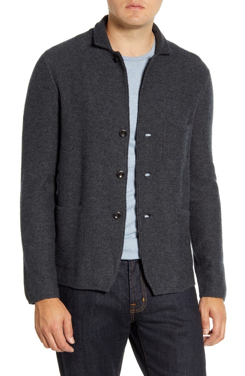 ALEX MILL Slim Fit Wool Sweater Jacket, Main, color, CHARCOAL