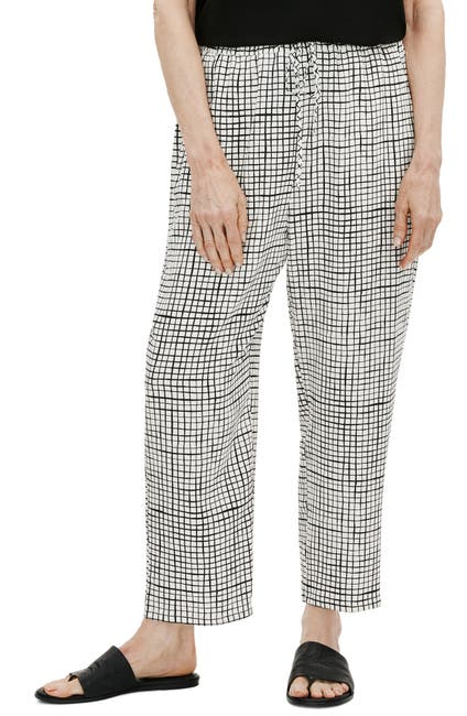Image of Eileen Fisher Check Slouchy Crop Pants