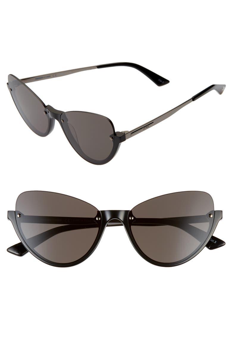 MCQ ALEXANDER MCQUEEN 56mm Semi Rimless Cat Eye Sunglasses, Main, color, 001