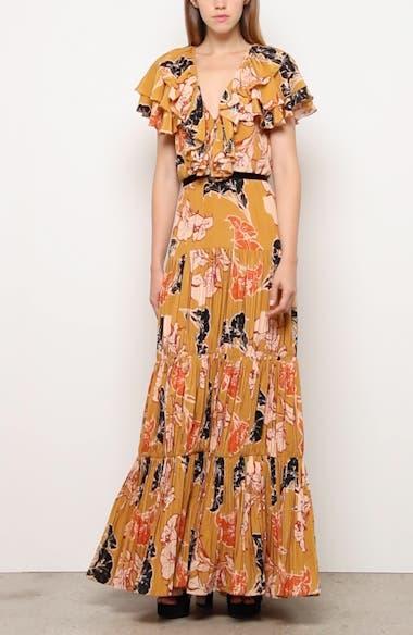 Ruffle Floral Print Crepe de Chine Maxi Dress, video thumbnail