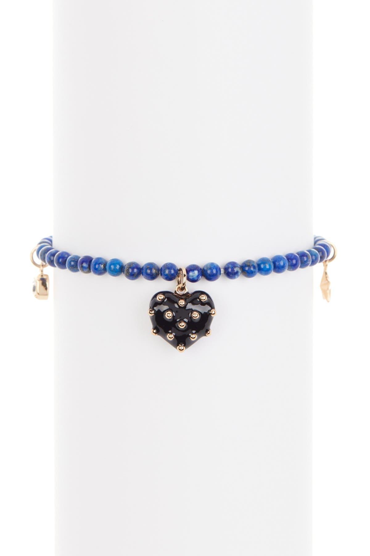Image of Rebecca Minkoff Studded Heart Charm Stone Bead Stretch Bracelet