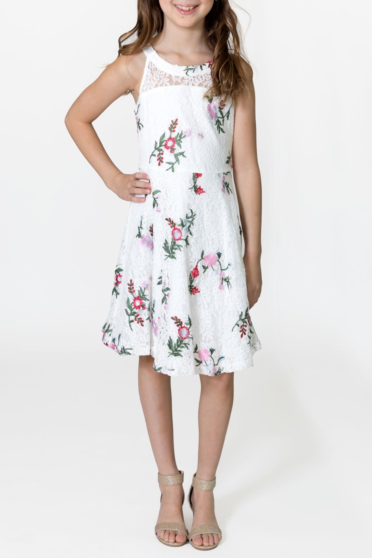Image of Blush by Us Angels Sleeveless Embroidered Lace Dress