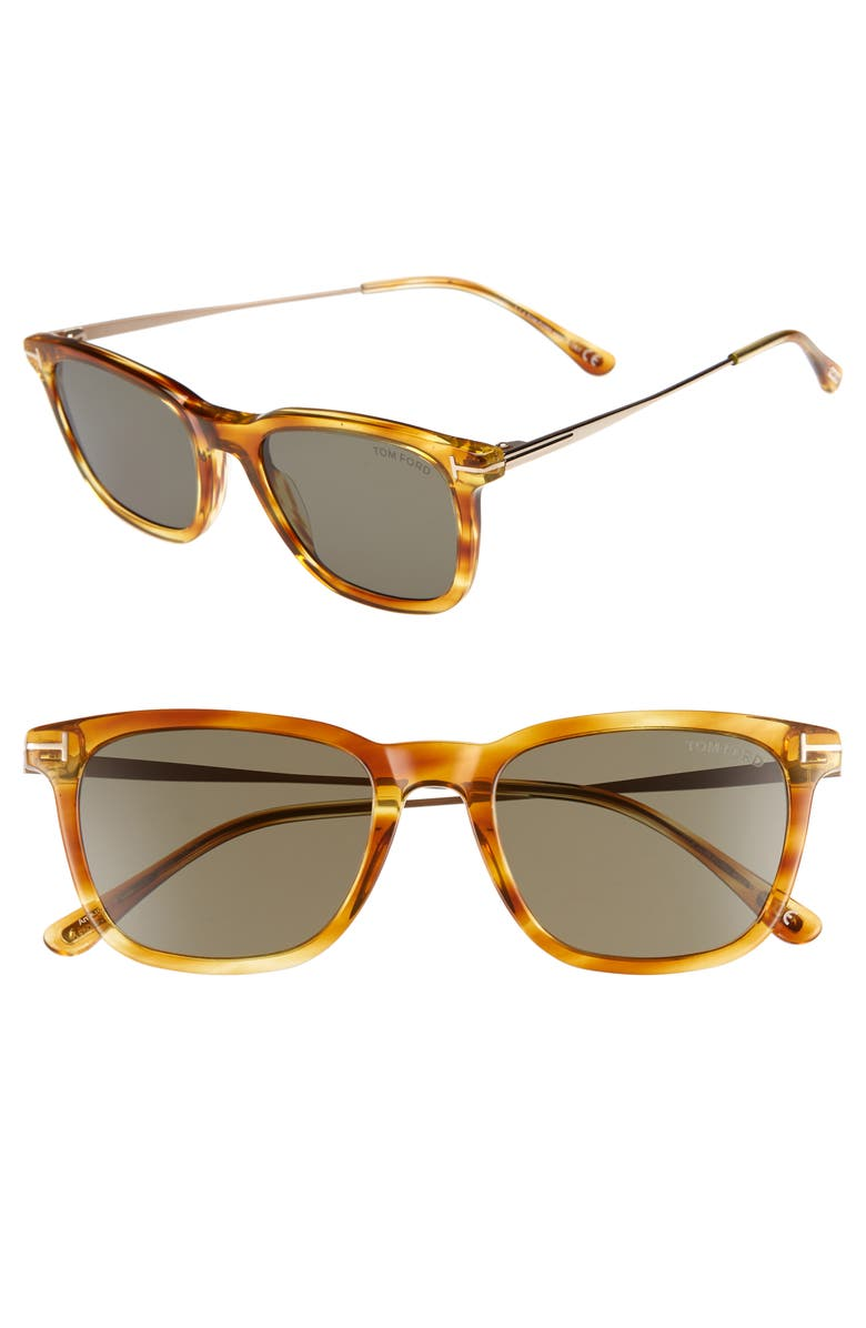 TOM FORD 53mm Rectangle Sunglasses, Main, color, LIGHT BROWN/ SMOKE