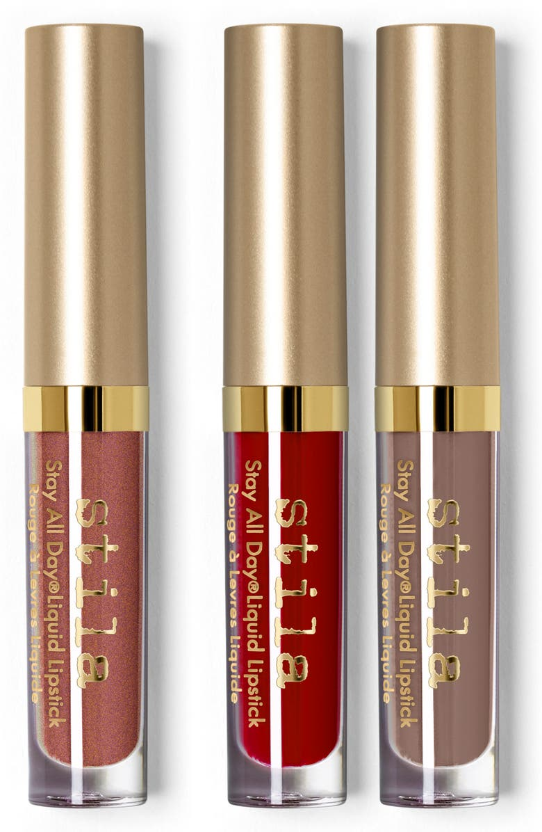 STILA warm & fuzzy stay all day liquid lipstick set, Main, color, 000