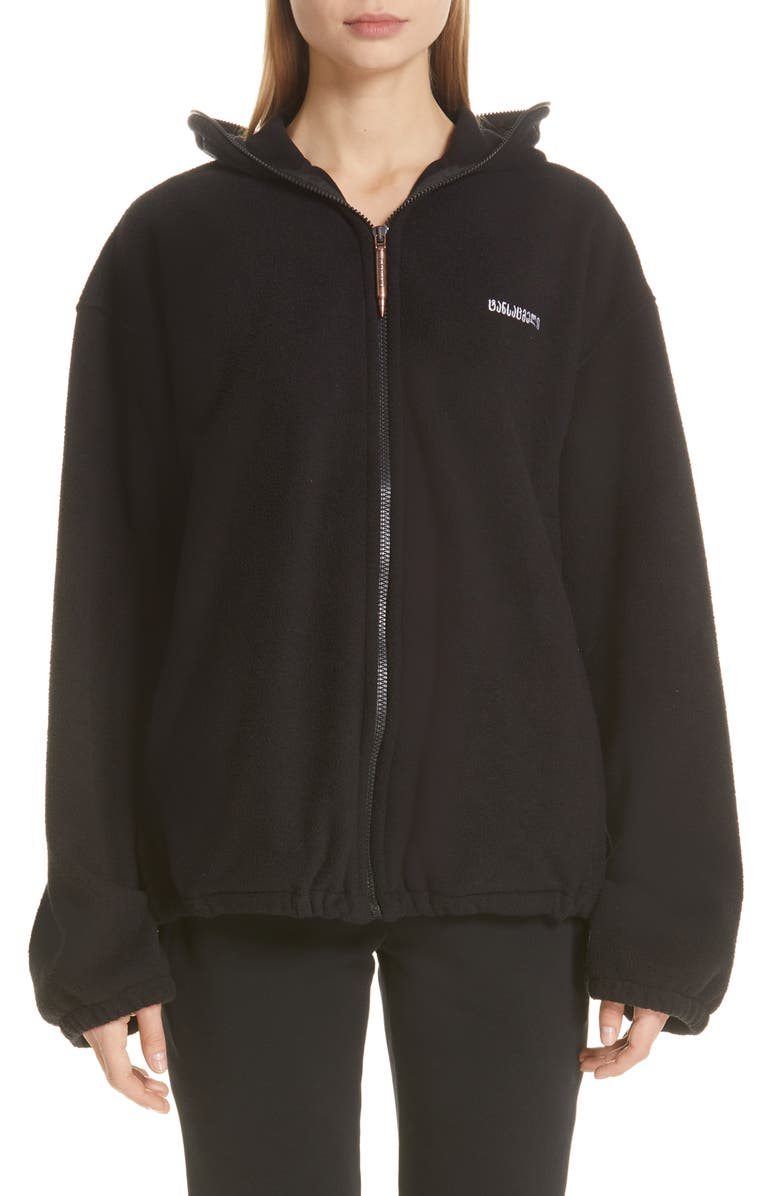 VETEMENTS Zip Fleece Mask Jacket, Main, color, 001