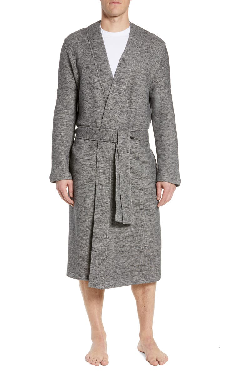 UGG<SUP>®</SUP> Kent Heathered French Terry Robe, Main, color, BLACK HEATHER