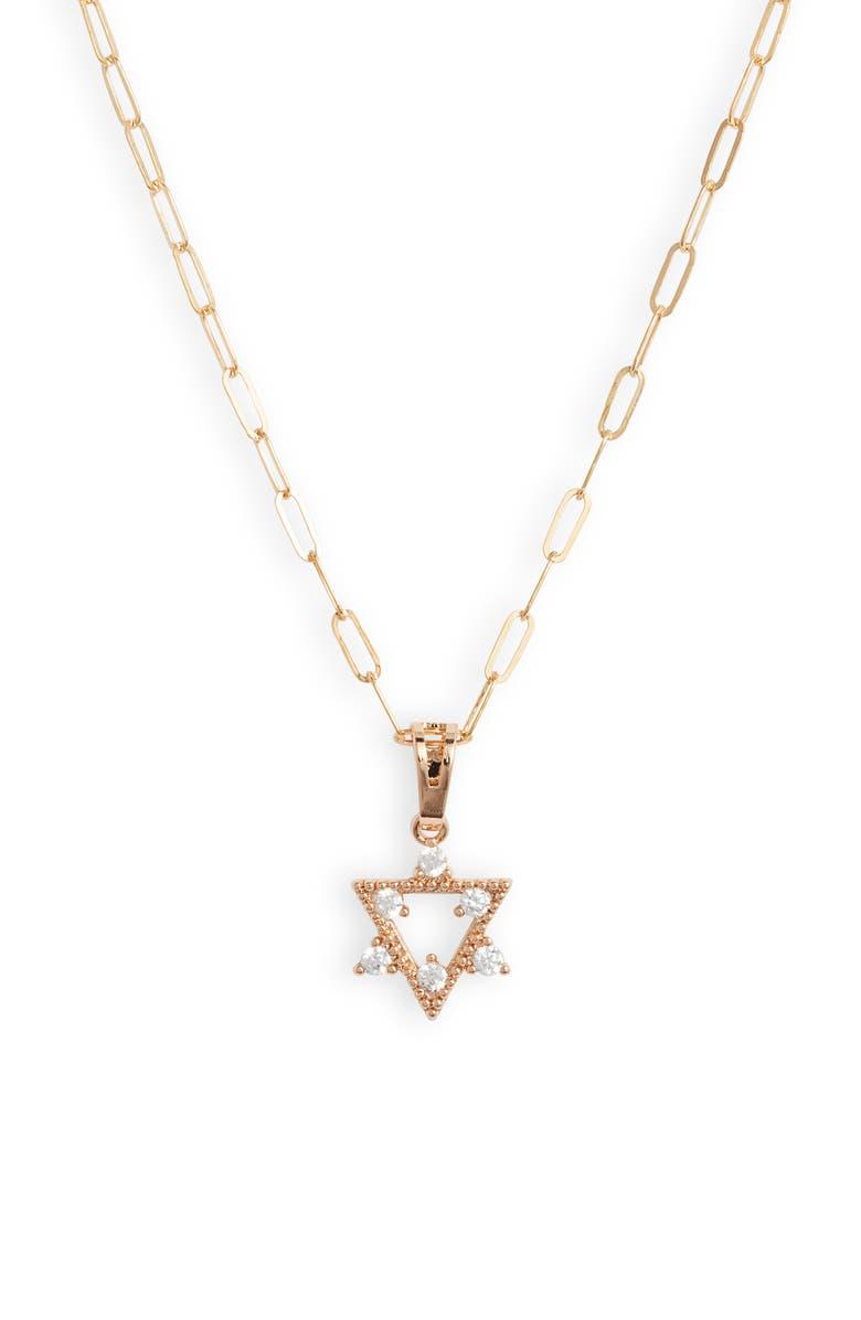 BRACHA Star Of David Pendant Necklace, Main, color, GOLD / CUBIC ZIRCONIA