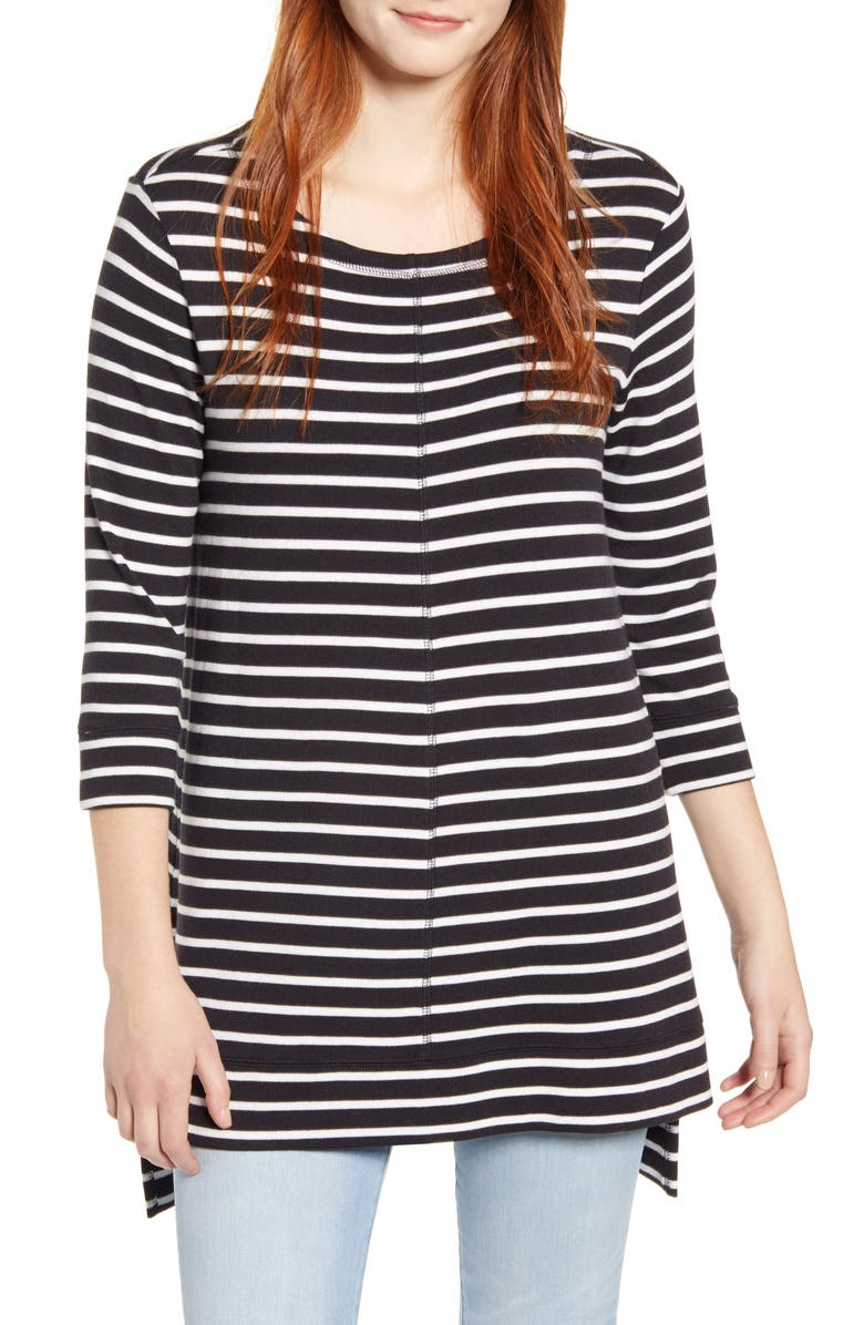 CASLON<SUP>®</SUP> Three Quarter Sleeve Side Slit Tunic, Main, color, BLACK WHITE CHLOE STRIPE