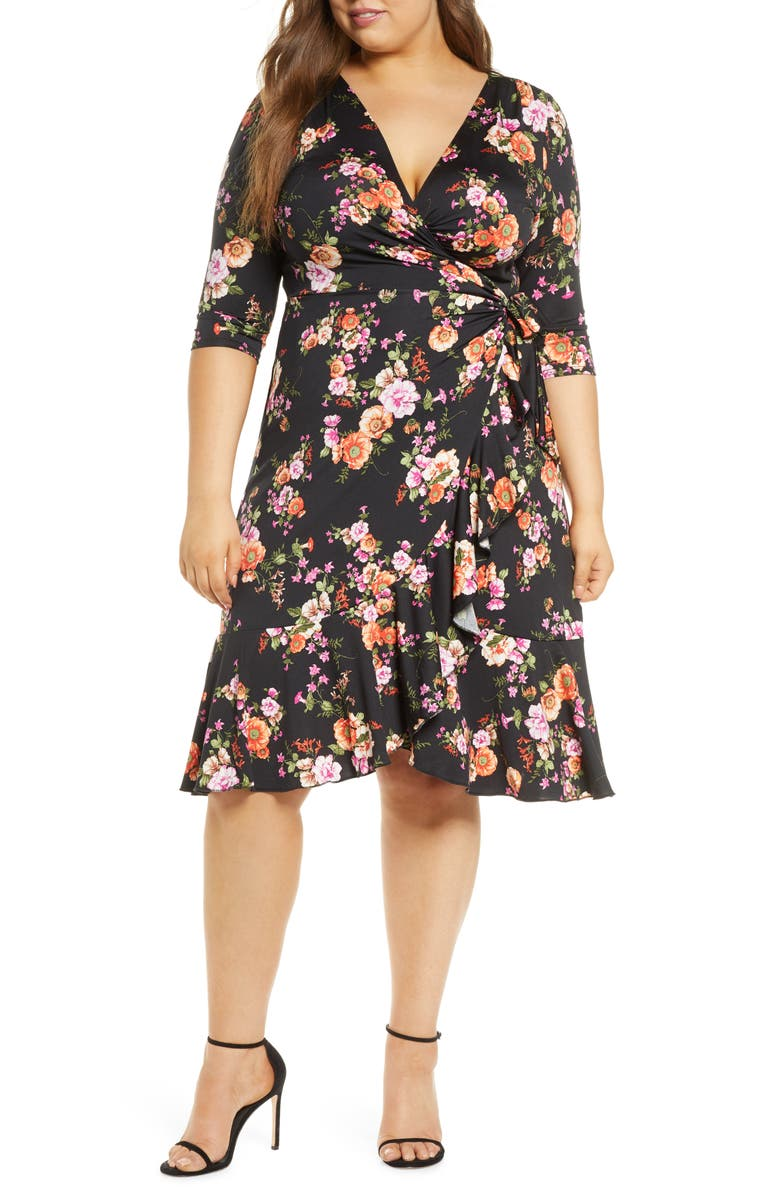 KIYONNA Flirty Flounce Wrap Dress, Main, color, VIBRANT BLOOMS