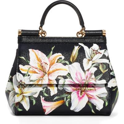 Dolce & gabbana Small Sicily Lily Print Leather Satchel - Black
