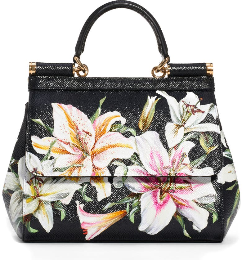 DOLCE&GABBANA Small Sicily Lily Print Leather Satchel, Main, color, NERO/ LILY PRINT