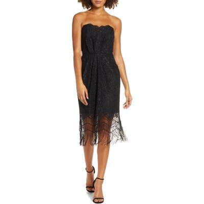 Harlyn Strapless Fringe Cocktail Dress, Black