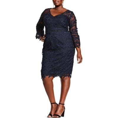 Plus Size City Chic Three-Quarter Sleeve Cocktail Dress, Blue