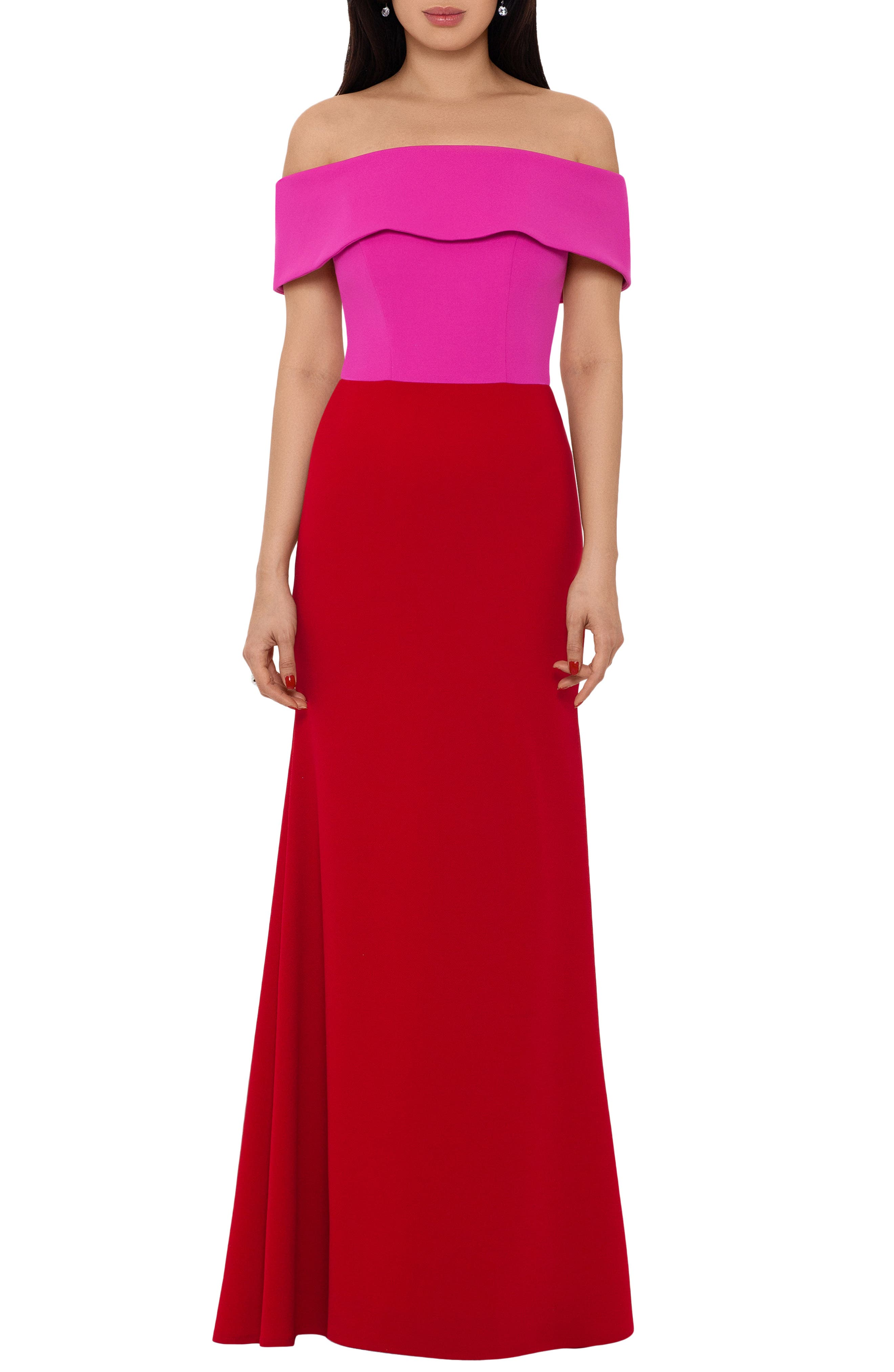Two-Tone Off The Shoulder Crepe Gown