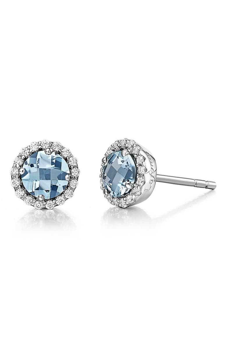 LAFONN Birthstone Stud Earrings, Main, color, MARCH AQUAMARINE / SILVER