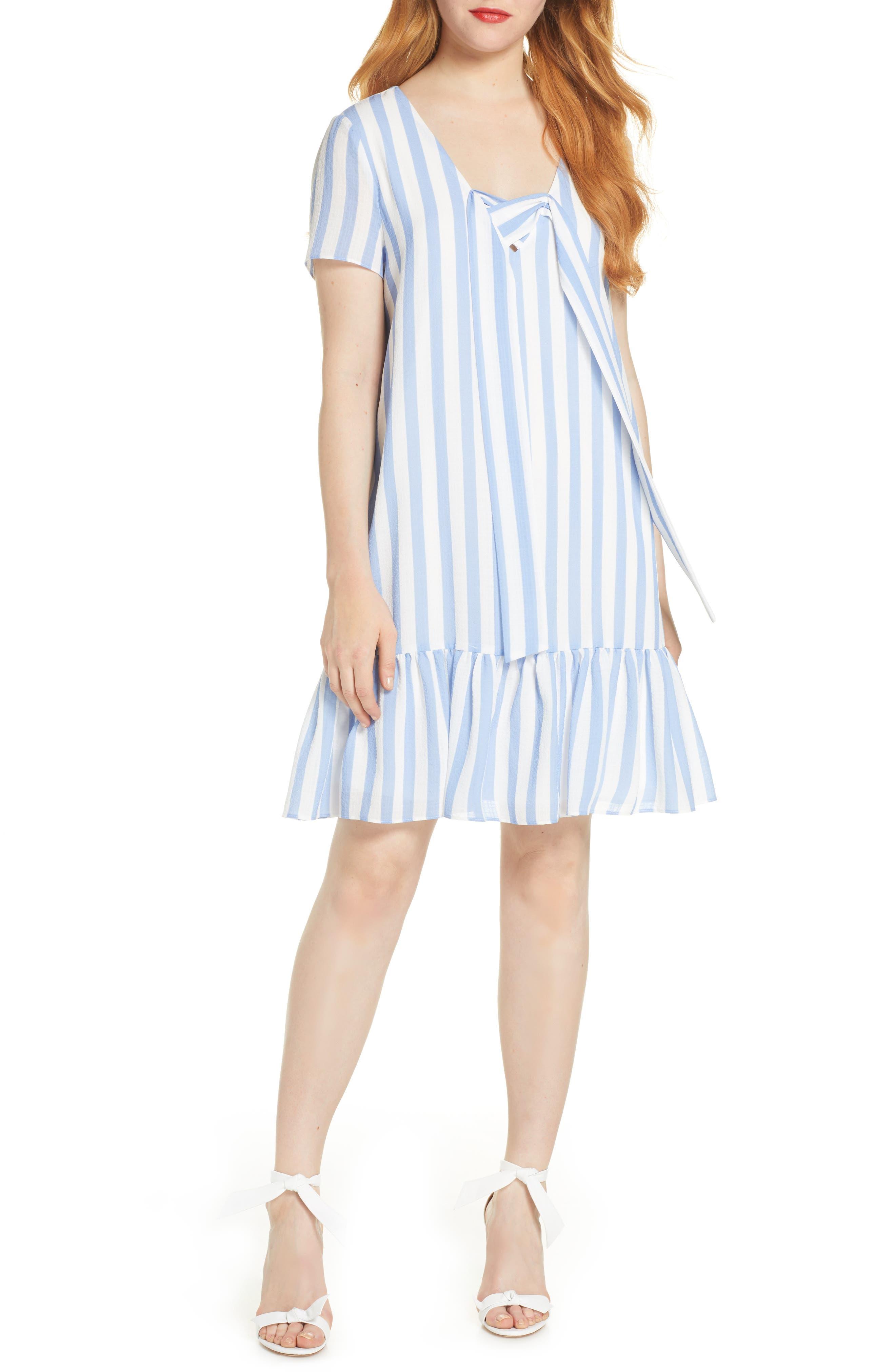 Avec Les Filles Lace Up Stripe Shift Dress, Blue