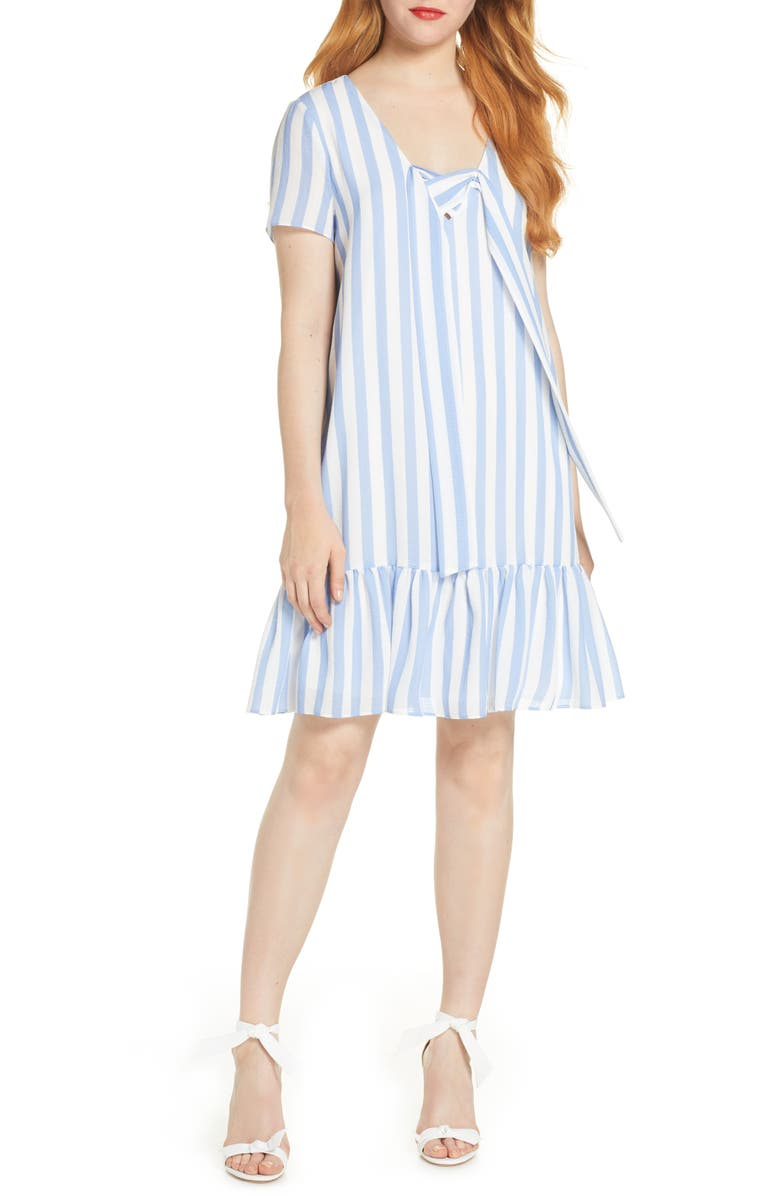 AVEC LES FILLES Lace Up Stripe Shift Dress, Main, color, 454