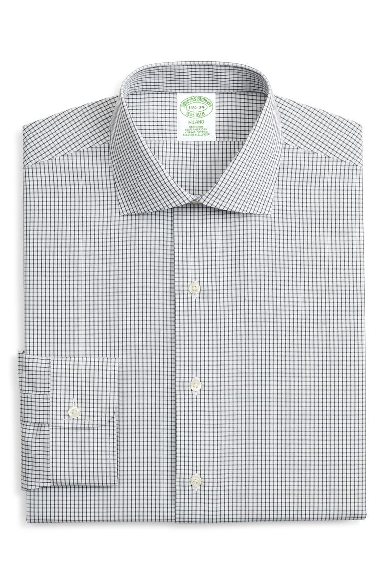 BROOKS BROTHERS Milano Trim Fit Non-Iron Check Dress Shirt, Main, color, WPGREEN