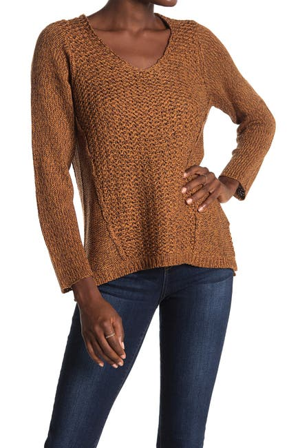 Image of Modern Designer Mixed Stitch V-Neck Sweater