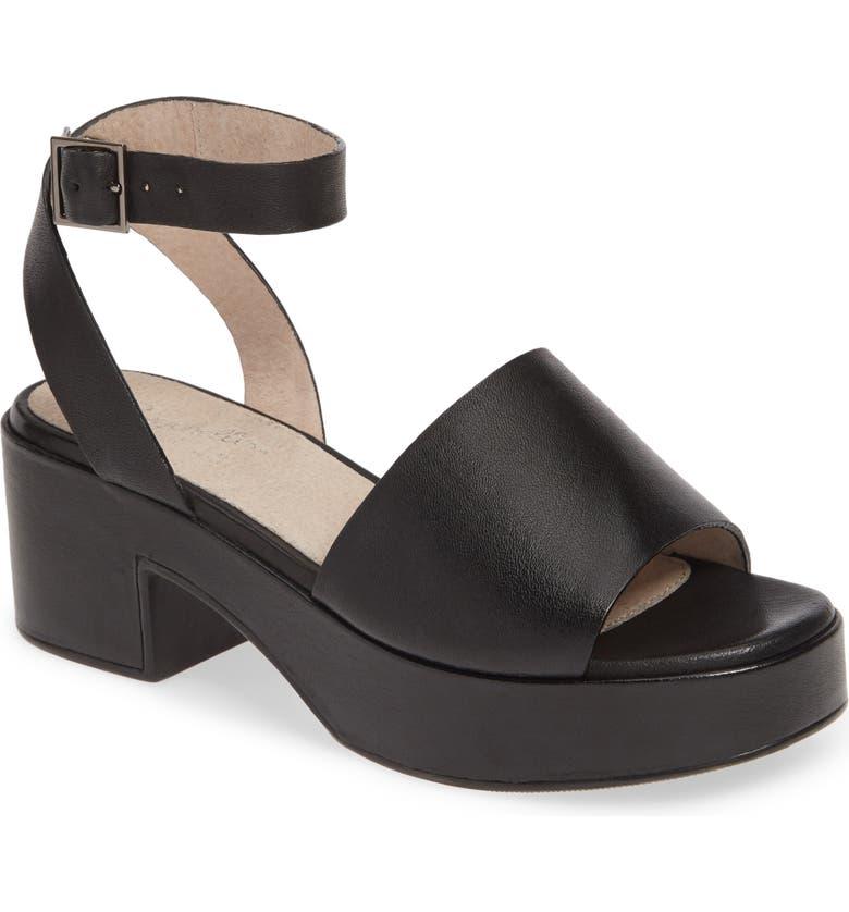 SEYCHELLES Calming Influence Platform Sandal, Main, color, BLACK LEATHER