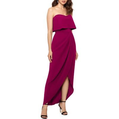 Xscape Strapless Popover Scuba Crepe Gown, Red