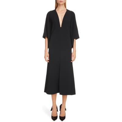 Victoria Beckham Cape Sleeve Midi Dress, US / 12 UK - Black