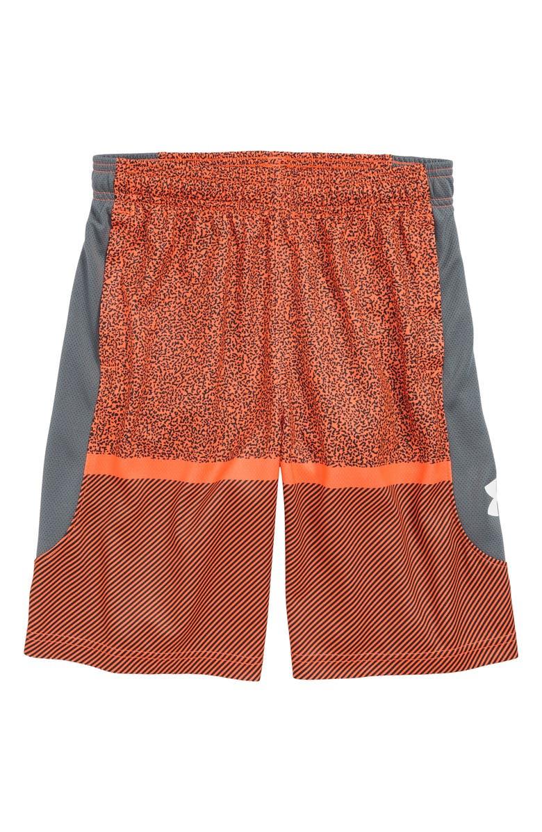 UNDER ARMOUR Baseline Basketball Shorts, Main, color, ORANGE GLITCH/ WHITE