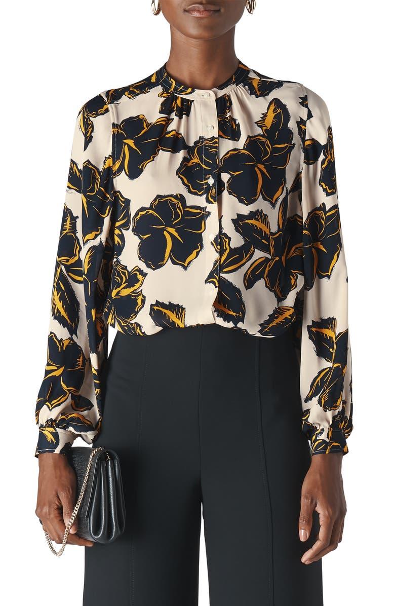 WHISTLES Tropical Leaf Silk Shirt, Main, color, WHITE/ MULTI