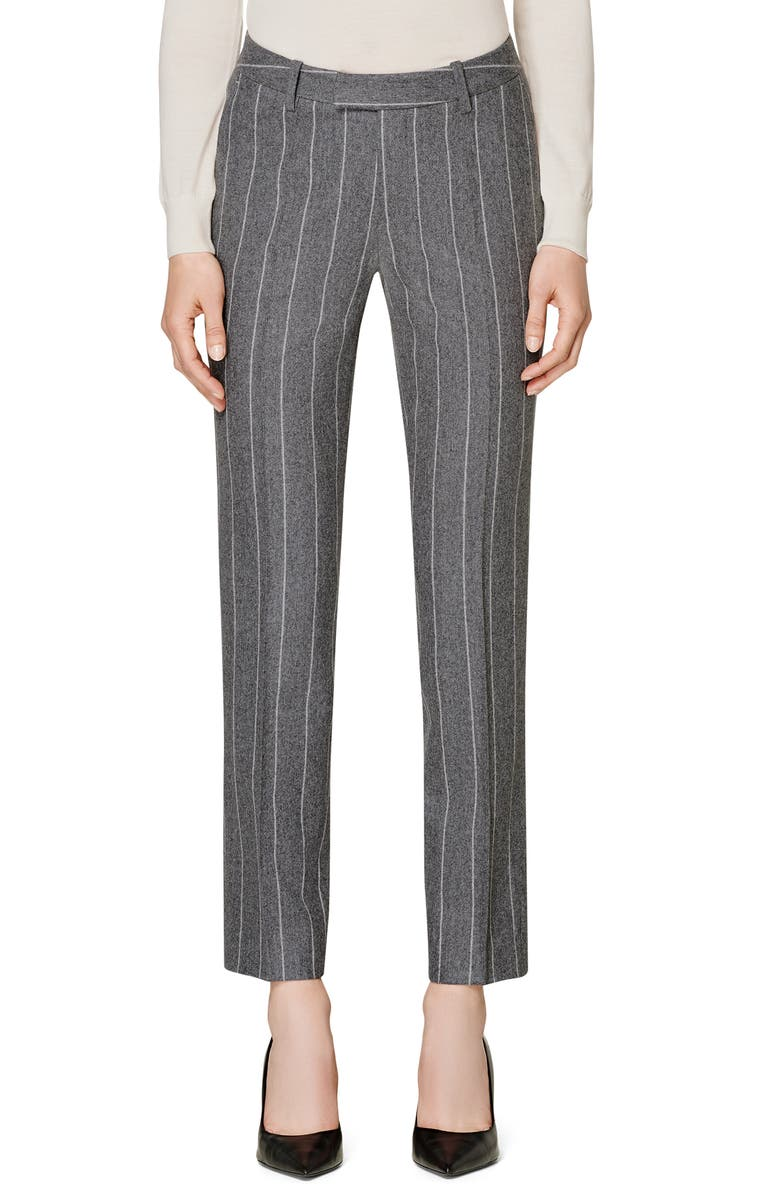 SUISTUDIO Robin Classic Fit Chalk Stripe Wool Trousers, Main, color, 080