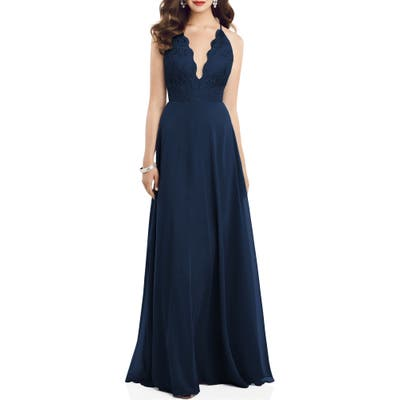 Dessy Collection Plunge Neck Lace & Chiffon Gown, Blue