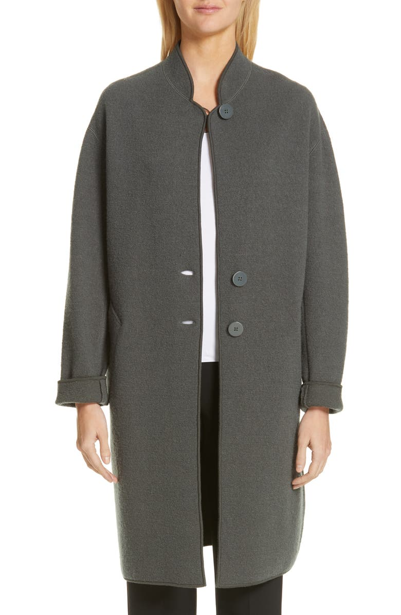EMPORIO ARMANI Boiled Wool & Cotton Cocoon Coat, Main, color, LODEN