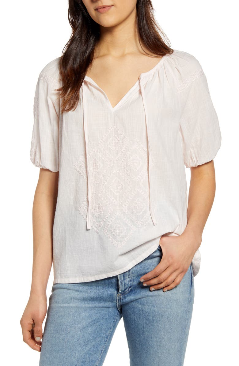 LUCKY BRAND Embroidered Peasant Top, Main, color, MAUVE MORN