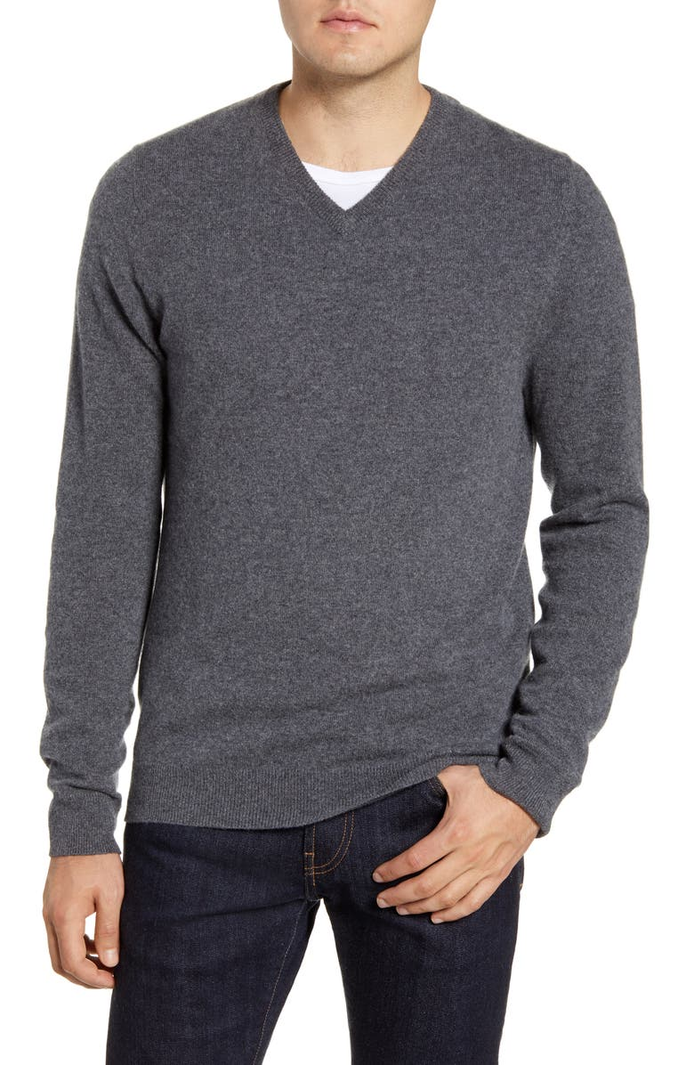 NORDSTROM MEN'S SHOP Cashmere V-Neck Sweater, Main, color, GREY SHADE HEATHER