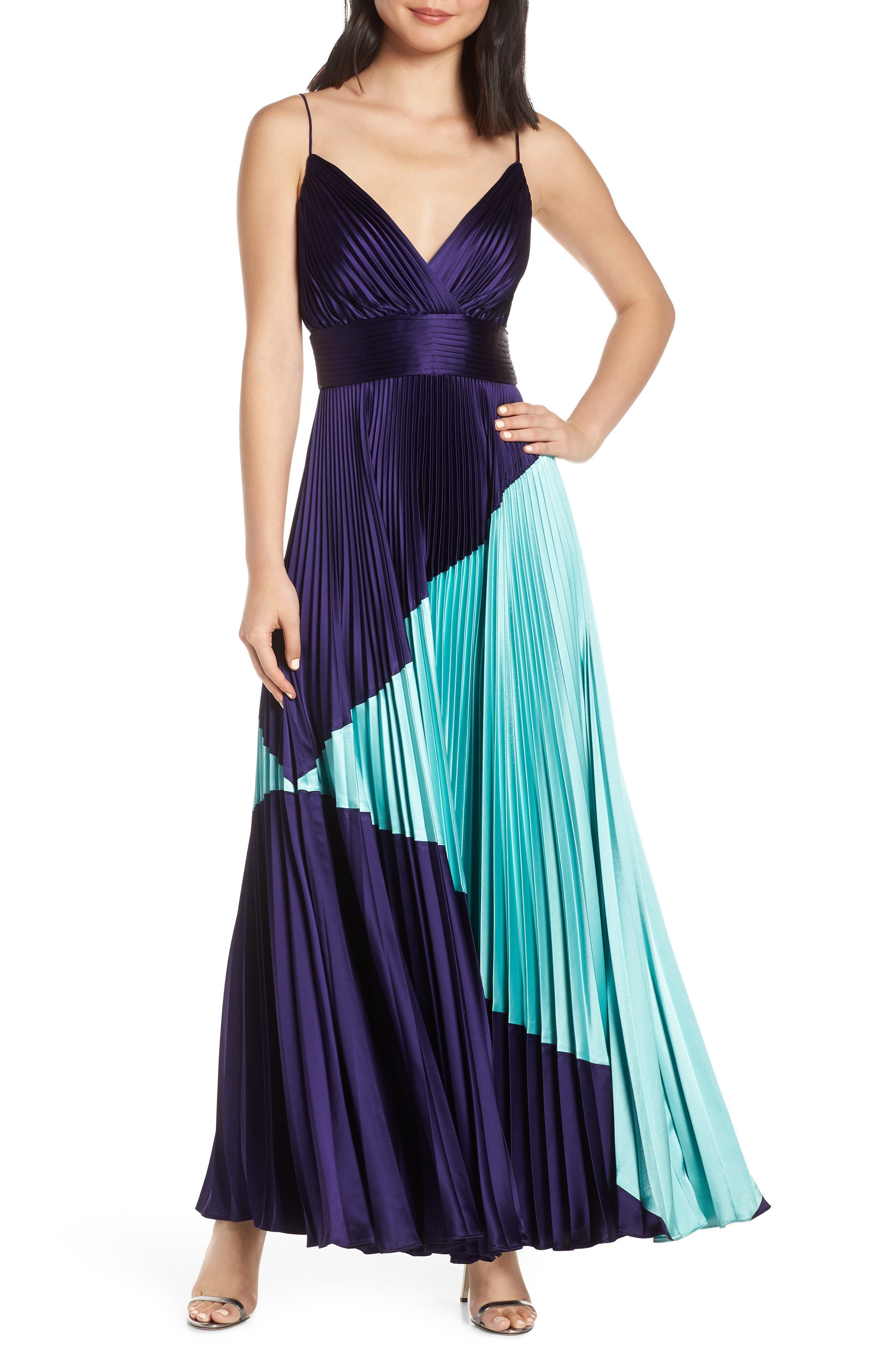 Jill Jill Stuart Colorblock Pleated Gown, Blue