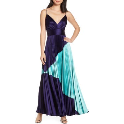 Jill Jill Stuart Colorblock Pleated Gown, Blue