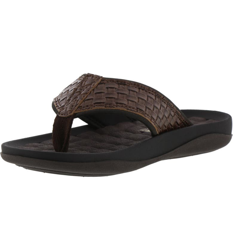 REACTION KENNETH COLE Kenneth Cole Reaction Good News Flip Flop, Main, color, BROWN