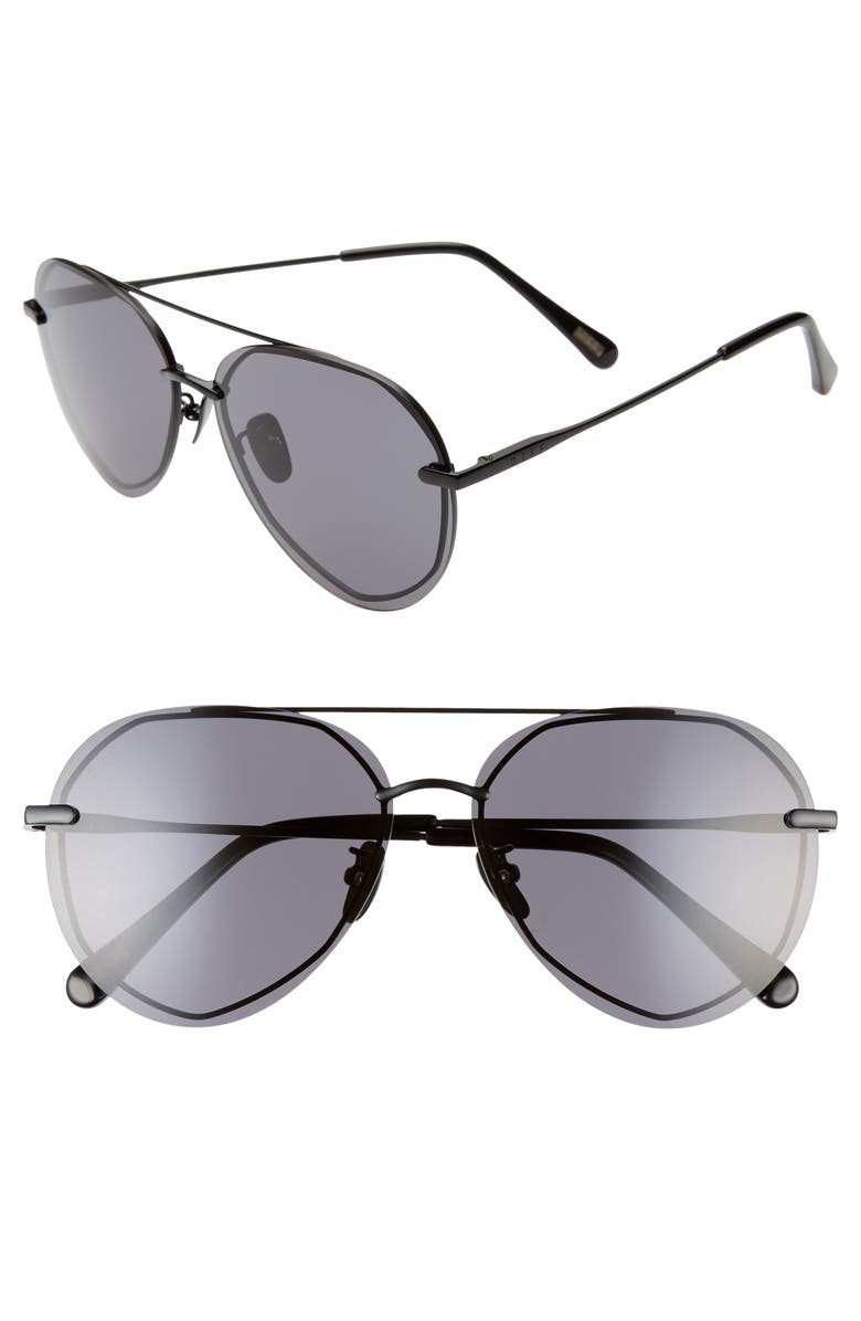 DIFF Lenox 61mm Round Flat Front Aviator Sunglasses, Main, color, BLACK/ GREY