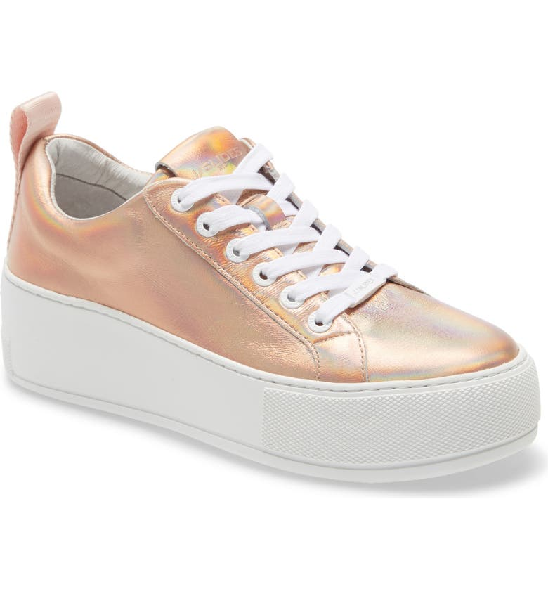 JSLIDES Margot Platform Sneaker, Main, color, ROSE GOLD LEATHER